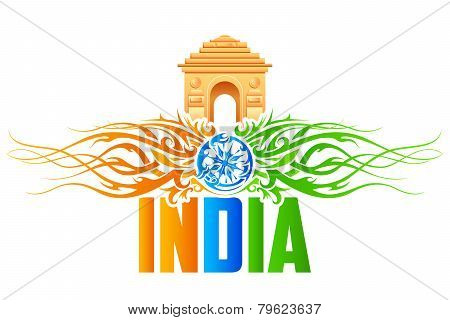 India Gate with tricolor floral swirl