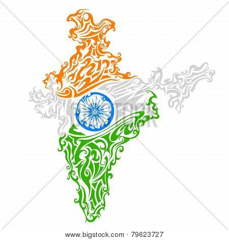 Swirl floral tricolor India map