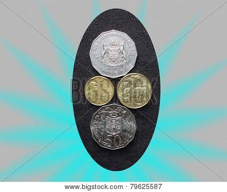 Coins, 50 cent, 1 & 2 dollar Australian.