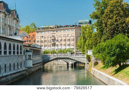 Ljubljanica river with bridge, Ljubljana, Slovenia