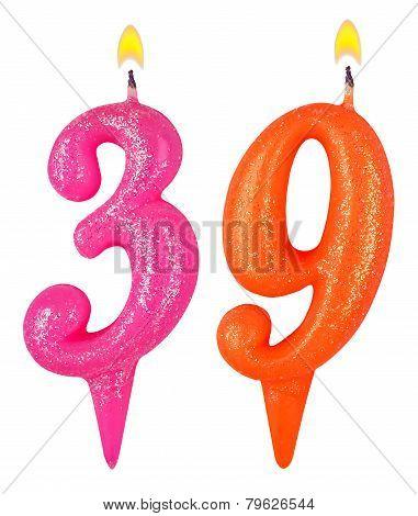 Birthday Candles Number Thirty Nine