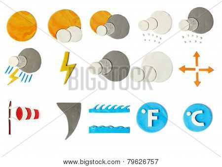 Plasticine Weather Icons On White Background
