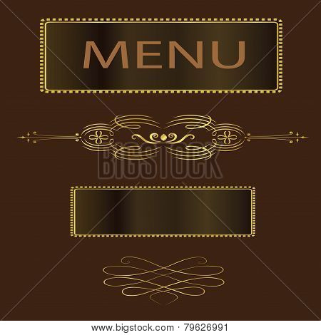 Menu Vector-Fancy Brown And Gold Menu Cover