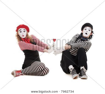 Two Mimes With Red Heart