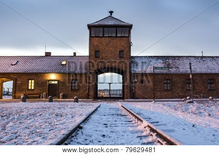Main Gate To Concentration Camp Of Auschwitz Birkenau, Poland
