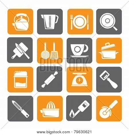 Silhouette kitchen gadgets and equipment icons