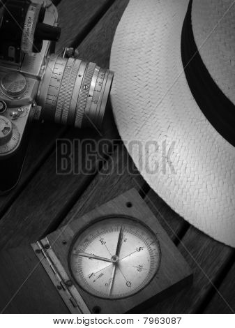 panama hat and travel equipments