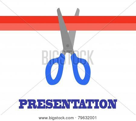 Presentation card. Scissors and Cutting Red Ribbon