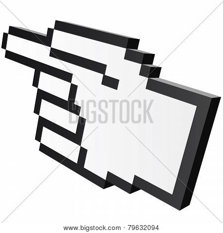 3D Pixel Graphic Hand - Forefinger