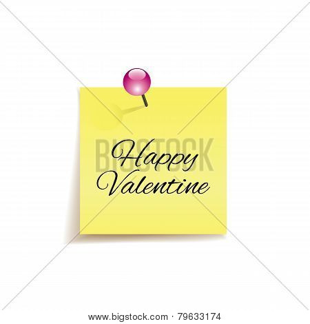 Happy Valentine - original valentine card - hand written note on cork board
