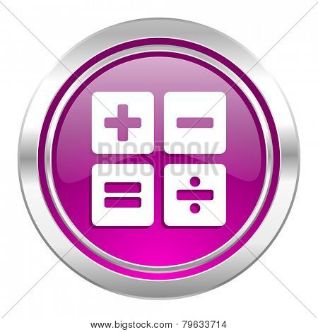 calculator violet icon calc sign