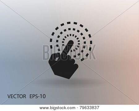 Flat long shadow Hand Touch icon, vector illustration