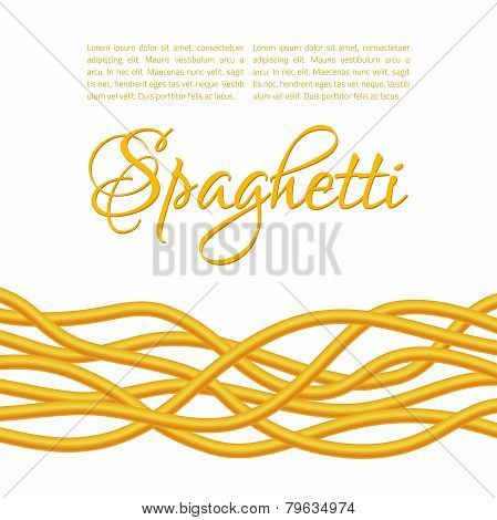 Realistic Twisted Spaghetti Pasta, horizontal composition