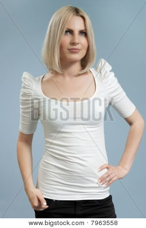 Attractive Blonde In White Shirt Isolated
