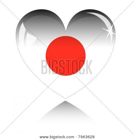 Vector heart with Japan flag texture isolated on a white.