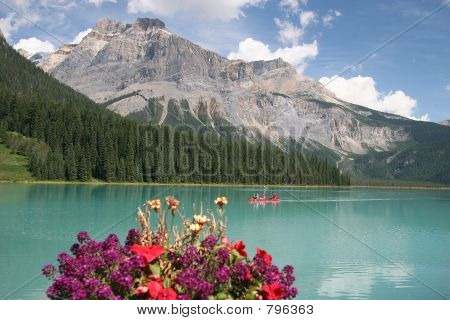 Mountain lake with flowers