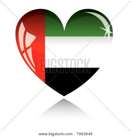 Vector heart with United arab emirates flag texture.