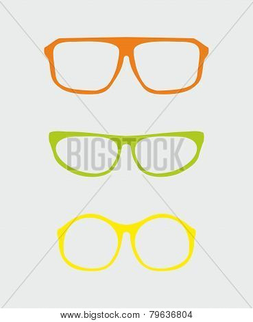 Colorful vector glasses set with orange red, green, yellow holder retro hipster object