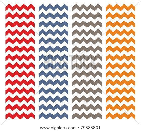 Tile chevron pattern set with orange, grey, blue and red zig zag on white background