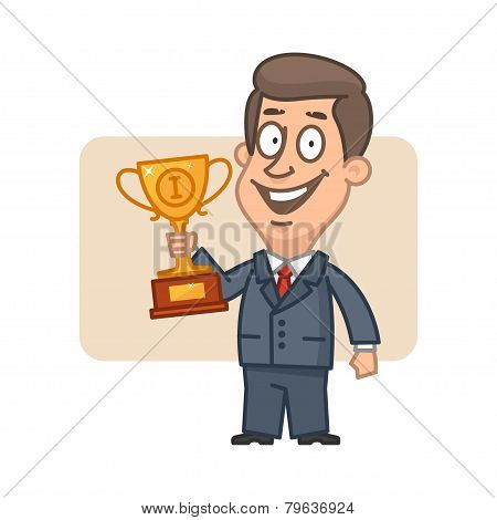 Character businessman holding cup and smiling