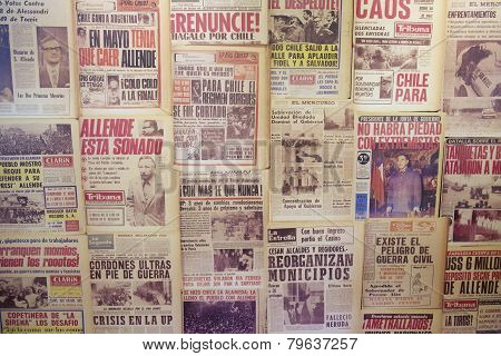 Collage of the newspapers issued in 1973 in Santiago, Chile.