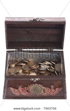 Old brown treasure chest full of EURO coins isolated on white