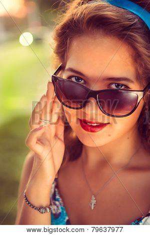 American Retro Girl In Suglasses. Photo In 60S Style.