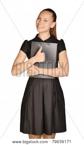 Business beautiful girl holding paper holder and a thumbs up.