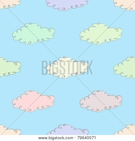 seamless symmetrical ornament with clouds vector illustration
