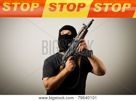 Man With Gun And Stop Line.
