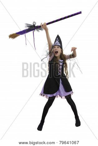 Witch Girl And Broom