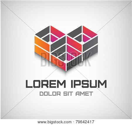 vector abstract cube icon, logo isolated