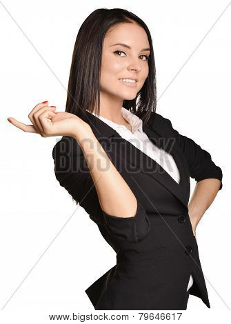 Business woman shows forefinger up. white background.