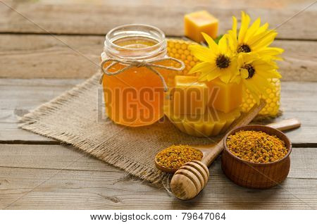 Still Life From Honey,  Wax, Honeycombs,flawers And Pollen Granule
