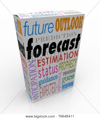 Forecast and related words on a 3d product box or package, including anticipation, outlook, prediction and prognosis