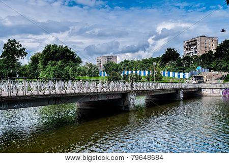 Pedestrian bridge on Nizhny pond. Kaliningrad