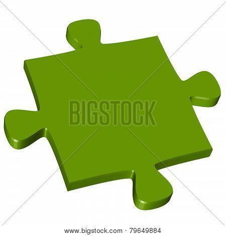 3D Puzzle Piece Green