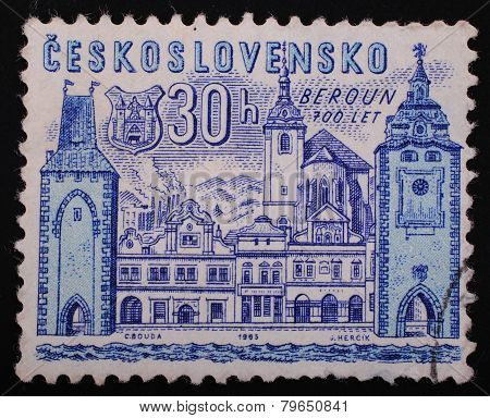 Czechoslovakia- Circa 1965: Postage Stamp Printed In Czechoslovakia Shows Image Of The Castle 700 Ye