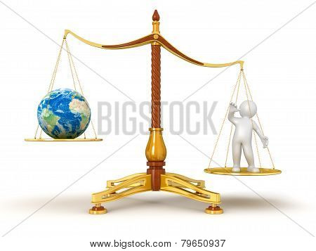 Justice Balance  with Globe and man (clipping path included)