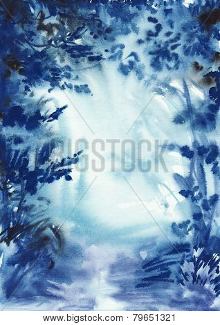Abstract Blue Misty Forest