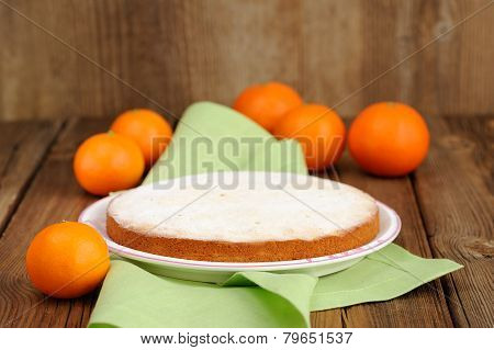Clementine Pie With Clementines On Wooden Background