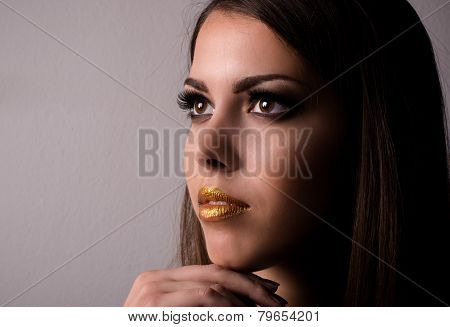 Thoughtful Attractive Young Woman Wearing Makeup