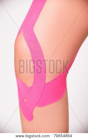 Closeup Of Kinesio Taped Knee