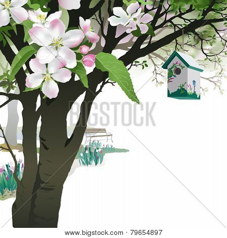 Spring Background - Blooming Apple tree with Birdhouse.