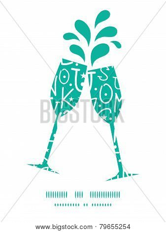 Vector white on green alphabet letters toasting wine glasses silhouettes pattern frame