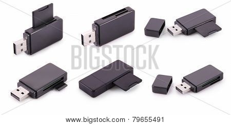 Six Black Card Reader With Memory Card