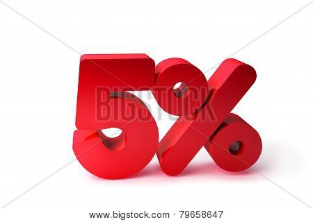 5% 3D Render Red Word Isolated in White Background