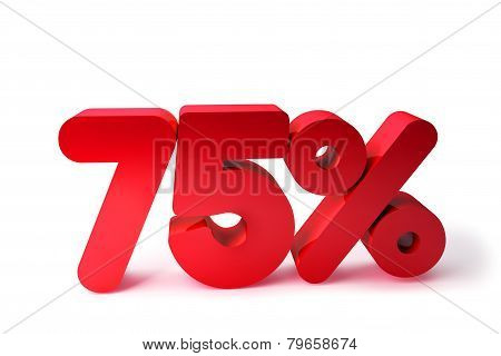 75% 3D Render Red Word Isolated in White Background