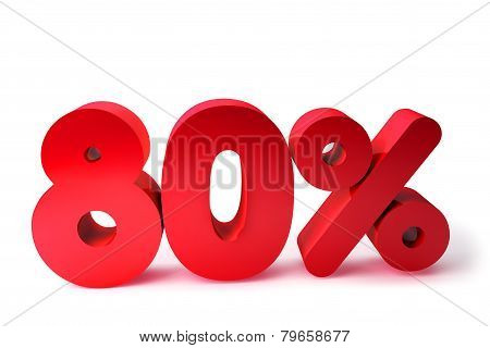 80% 3D Render Red Word Isolated in White Background