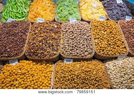 Nuts and almonds on a market